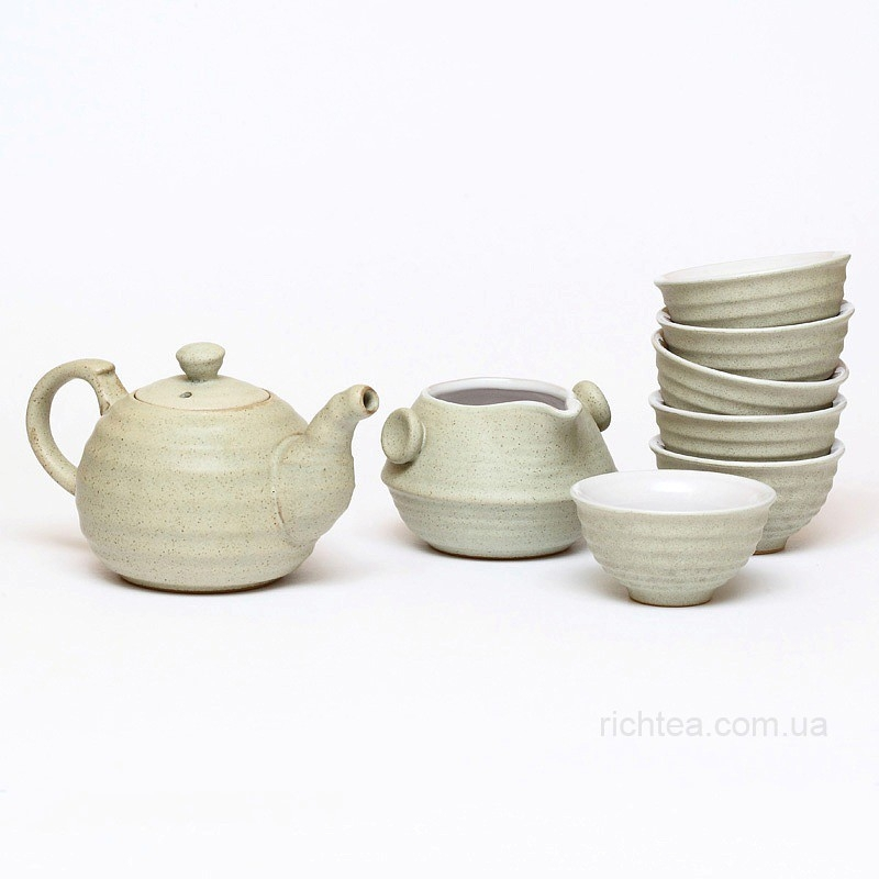 Сервиз из голубой глины для чайной церемонии